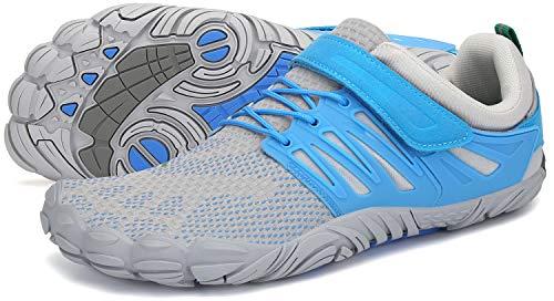 SAGUARO Barfussschuhe Frauen Outdoor Traillaufschuhe Atmungsaktiv rutschfest Zehenschuhe Barfuß Laufschuhe St.2 Blau 38