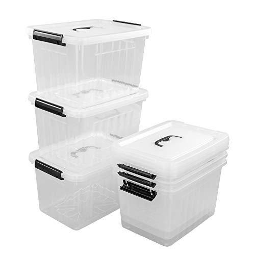 Farmoon 12 Liter Kunststoffboxen zur Aufbewahrung mit Deckel, transparenter Aufbewahrungsbehälter mit schwarzen Griffen, 6 Packungen