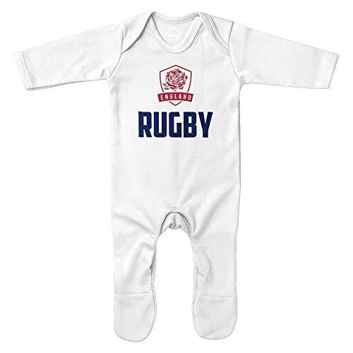 Purple Print House Baby Rugby Sport England Strampler – Lustiger Baby Ankündigung Fußball Rugby Badge Englisch Supporter Geschenke für Baby – Weiß Navy Babies Eng Fan Outfit Gr. 6-12 Monate, weiß