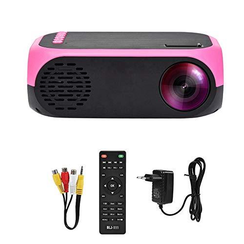 Guoshiy Mini proyector, proyector LED Proyector portátil de Mano HD 1080P Proyector de Video de Cine en casa Proyector de Bolsillo USB/Tarjeta de Memoria/HDMI/AV, 20ANS Lúmenes(Enchufe de la UE)
