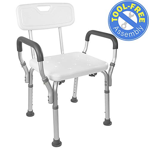 Vaunn Medical Tool-Free Assembly Spa Bathtub Shower Lift Chair, Portable Bath Seat, Adjustable Shower Bench, White Bathtub Lift Chair with Arms