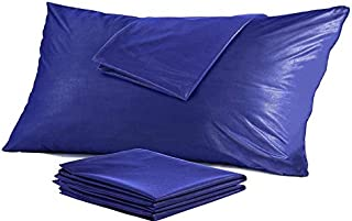 4 Pack Waterproof Pillow Protectors Standard 20x26 Inches ❤️Life Time Replacement❤️ Smooth Zipper Premium Encasement Covers Quiet Cases Set Navy Blue (Waterproof Jersey, Standard Navy Blue)