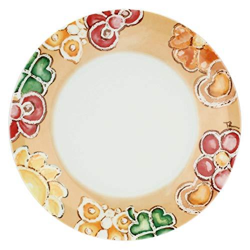 THUN - Piattino Decorato con Farfalle e Fiori - Piattino in Porcellana per per Biscotti, Torte, Dessert e Buffet - Accessori Cucina - Linea Happy - Porcellana - 20 cm Ø