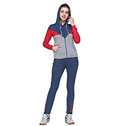 Multicolor Cotton Blend Fleece Long Sleeve Tracksuit for Women
