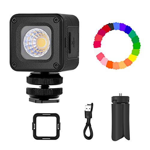 Emart Mini LED Waterproof Portable Video Lighting with 20 Color Gel Filters and Tripod Stand, Dimmable Fill Light on Camera for Smartphone, Drone Photography, Gopro, Osmo Pocket Osmo Action, DSLR