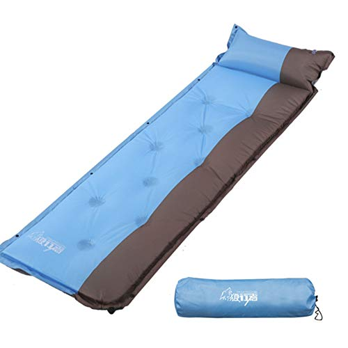 PrittUHU Outdoor Inflatable Sleeping Pad Inflatable Air Cushion Camping Mat with Pillow Air Mattress Sleep Cushion Inflatable Sofa (Color : Blue, Size : One Seat)