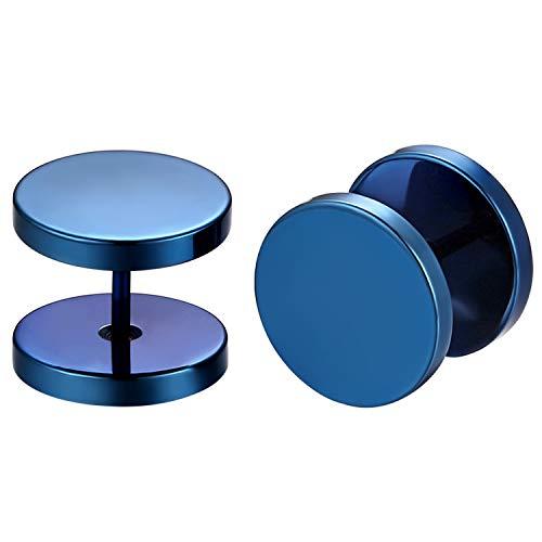 Flongo Pendientes Azules Tapones Redondos Pendientes de Hombre Mujer, Pendientes Hip Hop 12mm Acero Inoxidable, Sencillos Pendientes Redondos, 1 Par