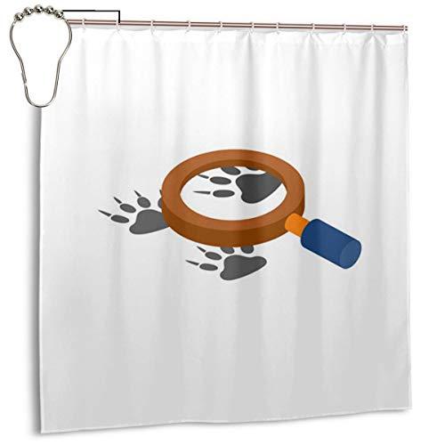 xinfub Lupe mit Tierfußabdruck Icon künstlerisch bedrucktes Polyestergewebe für Duschvorhang, wasserdicht, Duschvorhang, inklusive Haken, 182,9 x 182,9 cm