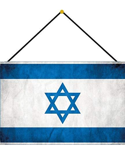 NWFS Land Fahne Israel National Flagge Blechschild Metallschild Schild Metal Tin Sign gewölbt lackiert 20 x 30 cm mit Kordel