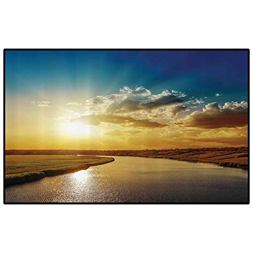 Apartment Decor Patio Rugs Kitchen Rugs Non Skid Cool Sunset View Over River Horizon Magical Landscape Phenomenal Physical Event Theme Modern Indoor Home Living Room Floor Carpet Blue Golden
