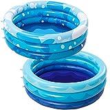 2 Packs 34' X 10' Inflatable Kiddie Pool Set, Blue Pattern Baby Pool Kids Swimming Pools, Summer Backyard Pool Inflatable Summer Pit Ball Pool for Kids Toddler Indoor&Outdoor