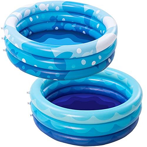 2 Packs 34  X 10  Inflatable Kiddie Pool Set, Blue Pattern Baby Pool Kids Swimming Pools, Summer Backyard Pool Inflatable Summer Pit Ball Pool for Kids Toddler Indoor&Outdoor