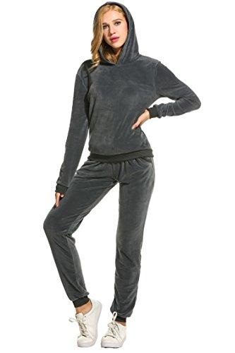 Unibelle - Tuta da jogging da donna, in velour, taglie S-XXXL, con cordoncini e tasche grigio scuro XXL