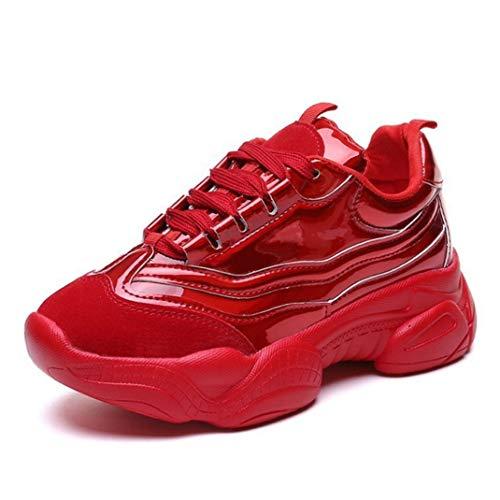 Frauen-plattform Vulkanisieren Schuhe Runde Zehe Schnüren Sich Oben Trainer Breathable Komfort-laufende Sport-goldkriechpflanzen-Turnschuhe