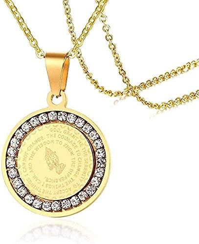 Yiffshunl Collar de Moda para Hombres Collar de oración de versículo bíblico con joyería de circonita cúbica Manos Medalla de oración Medalla Collares Pendientes