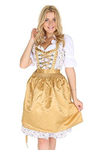 Bavarian Clothes Dirndl Damen Midi Trachtenkleid 5016 mit Dirndlbluse und Schürze Kleid 3 teilig Größe: 38, Gelb Weiss