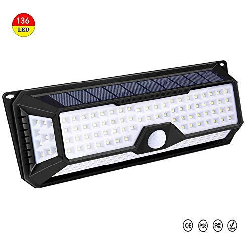Lámpara Solar Exterior, 136 LED Foco Solar LED Exterior Jardin Exterior con Sensor Movimiento 3 Modos Inteligentes Solares de Pared IP65 Impermeable para Jardín Escaleras y...