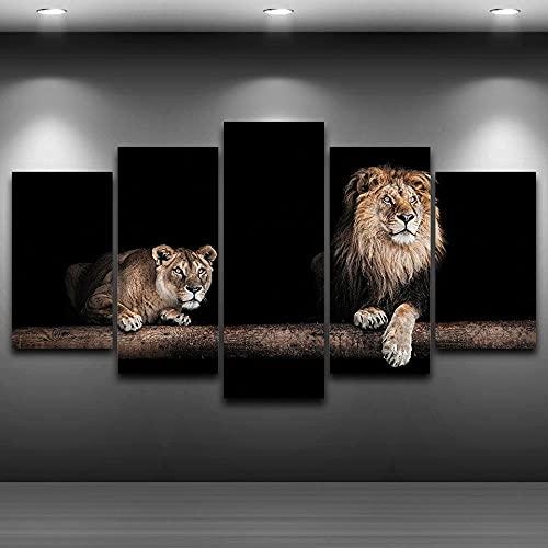 QQWW Cuadro en Lienzo Animal león Masculino y Cachorro 200x100cm - XXL Impresión Material Tejido no Tejido Artística Imagen Gráfica Decoracion de Pared - 5 Piezas - Listo para Colgar