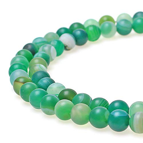 JARTC Natural Stone Beads Matte Green Stripe Agate Round Loose Beads for Jewelry Making DIY Bracelet Necklace (6mm)