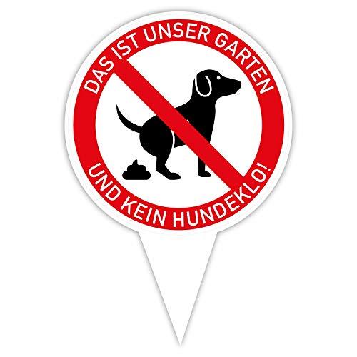 Steckschild Unser Garten ist kein Hundeklo! I Alu-Verbund 16 x 24,5 cm I Hunde koten verboten I Keine Hundetoilette I hin_381