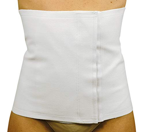 MANIFATTURA BERNINA Sana 55106 (Talla 5) - Faja compresión Abdominal para Mujer en algodón Alta 28 cm cinturón postoperatorio con Varillas y Cierre de Velcro