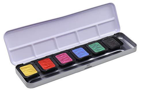 Finetec Clavos de color de 30 x 22 mm, 6 unidades, en caja de metal, Goma arábiga, pigmentos, 1