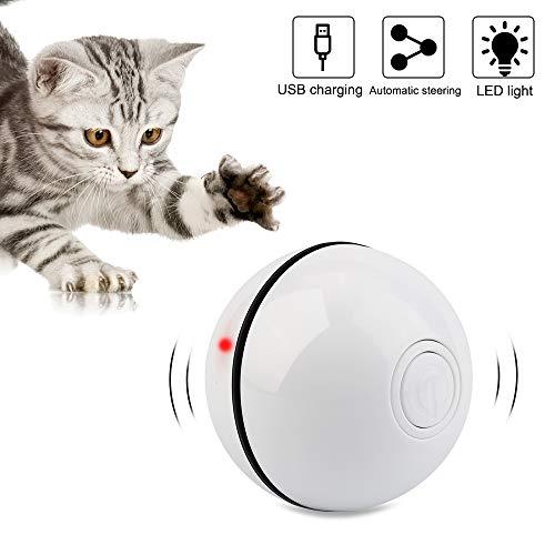 Vegena Katzenspielzeug Ball mit LED-Licht, Interaktives Katze Ball Automatische Rolling 360-Grad Wiederaufladbare Haustier Übungsbälle USB-Aufladung