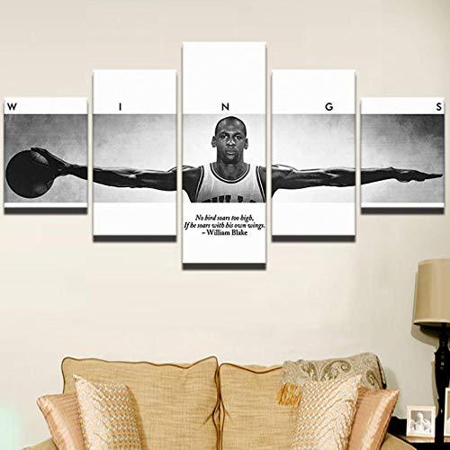 Wieoc Leinwanddrucke Modulare Malerei Dekoration Poster 5 Stücke Sport Basketball Spieler Moderne Wandkunst Leinwand Bild Rahmen Drucke Auf Leinwand 150x80cm