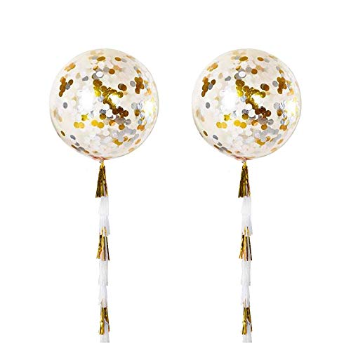 ZOOYOO 36' Gold Tissue Paper Tassels Confetti Balloons Pack of 2 (Clear)