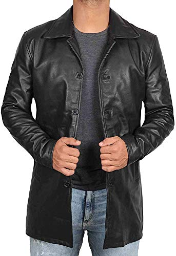Long Black Leather Coats for Men - Long Coat Brown Real Lambskin Men's Leather Jacket (4X-Large, Black Leather Coat)