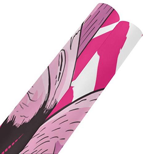 Schöne süße Flamingo Geschenkpapier Geburtstag 58x23inch 2 Rollen Packpapier Valentinstag Geschenkpapier für Muttertag Ostern Hochzeiten Geburtstage oder jede Gelegenheit
