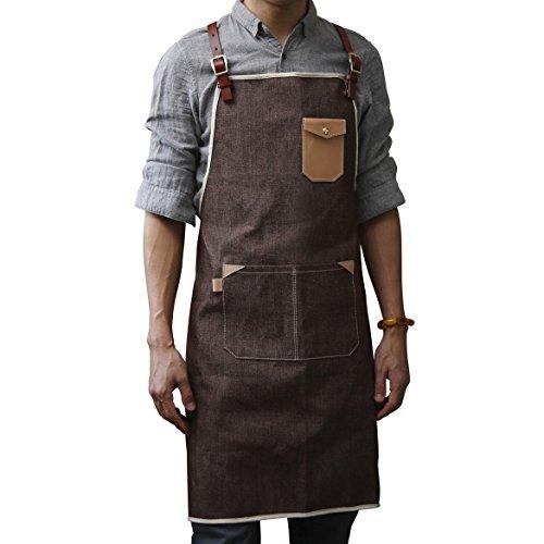 Delantal de tela vaquera de color café, talla M, L, XL, para hombres, mujeres, peluquería, cocina, barbería, café, delantal con...
