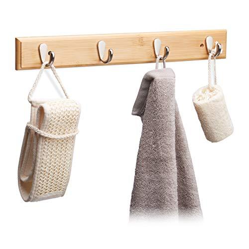 Relaxdays Hakenleiste Bambus, natürliche Maserung, 4 Metallhaken, Flurgarderobe, Handtuchhalter, HBT: 6x48,5x5cm, natur
