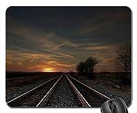 トラックフィールドサンセットイブニングツリー鉄道マウスパッドマットマウスパッドホットギフト