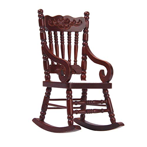 1/12 Dollhouse Miniature Wooden Model Rocking Chair Cute Furniture Toy Dolls House Accessories-Brown