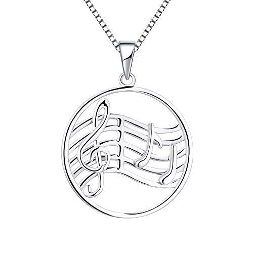 YL Kette Notenschlüssel Music Damen Halskette 925 Sterling Silber Violinschlüssel Anhänger Damen Schmuck 45+3CM Kettenlänge.