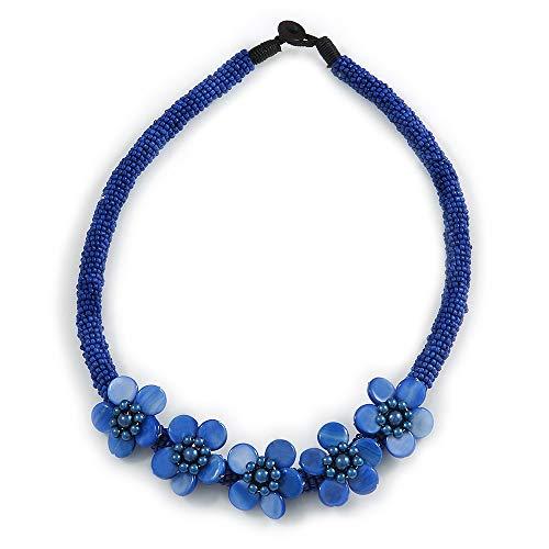 Avalaya - Collana con perle di vetro blu e motivo floreale, lunghezza: 48 cm