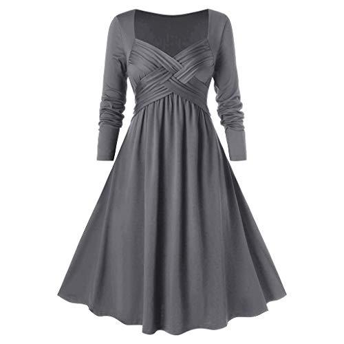 Damen Elegant V-Ausschnitt Kleider Vintage Langarm Feste Farbe Kleid für Abend Party Damen Mode Kreuz V-Ausschnitt Kleid Große Größe Kleid Cocktail Party Kleidung UK Übergröße 16-26 Gr. 52, grau