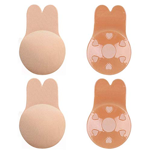 2 Pairs Sticky Bra Adhesive Invisible Backless Bra, Strapless Reusable Push Up Lift Nipple Covers for Women