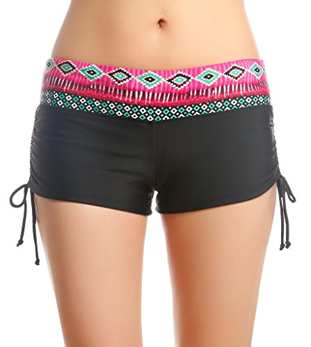 Damen UV Shutz Badeshorts Bikinihose mit Blumen Taillenbund Schwimmshorts Wassersport Hose Schwarz mit Rot,Größe M