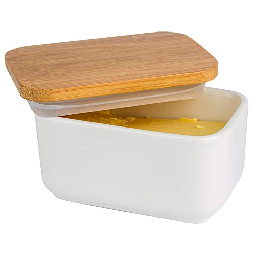 Arswin Butter Dish with Lid, Porcelain Butter Dish with Bamboo Lid, Butter Keeper Butter Container with Cover for Countertop or Refrigerator, Heat Resistant Kitchen Butter Storage Dish, White (300ml)