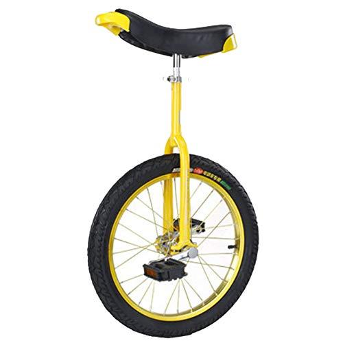 Monociclos 24/20/18/16 Pulgadas Principiantes/Profesionales, Adultos Niños Ejercicio de Ciclismo de Equilibrio, Llanta de Aleación y Sillín Ergonómico (Color : Yellow, Size : 20in)