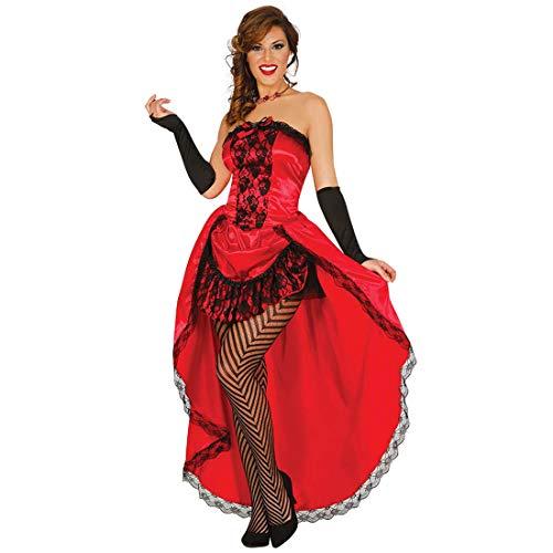 Amakando Elegantes Can Can Kostüm Showgirl / Rot-Schwarz XS/S (36/38) / Saloon Girl Westernkleid / Perfekt angezogen zu Karneval & Kostümfest