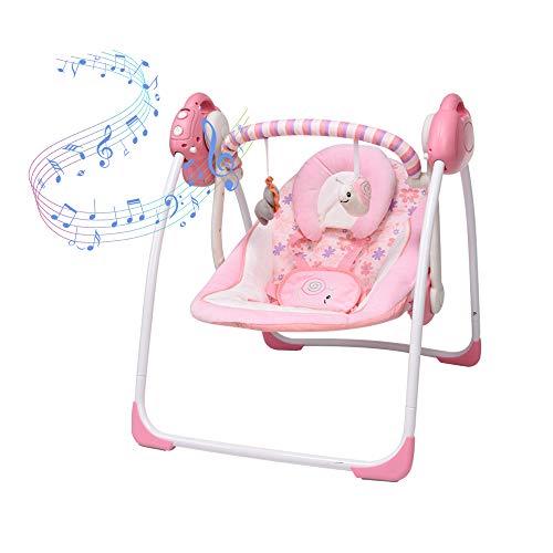 Columpio eléctrico rosa para bebé, asiento para recién nacido, cuna para bebé nuevo, 6 velocidades de columpio, 16 melodías y mosquitera