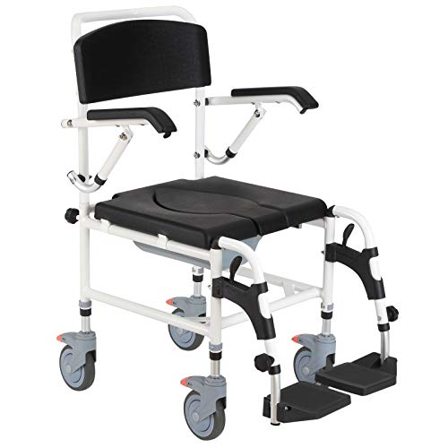 Mobility Assist Waterproof Commode Transfer Wheelchair Toilet Shower Chair Aluminum Frame Padded Plastic Seat Backrest Detachable Bucket and Seat Adjustable Seat Height Ideal for Elderly Or Disabled