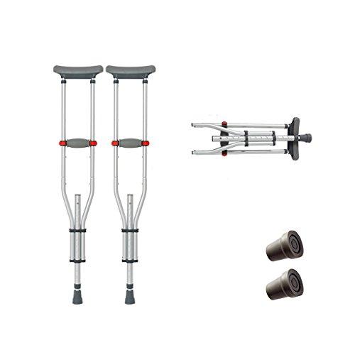 HAIYING krukken rijden medische hoge volwassen wandelen krukken met onderarm pad en handgreep, grijs inklapbaar, in hoogte verstelbare anti-slip
