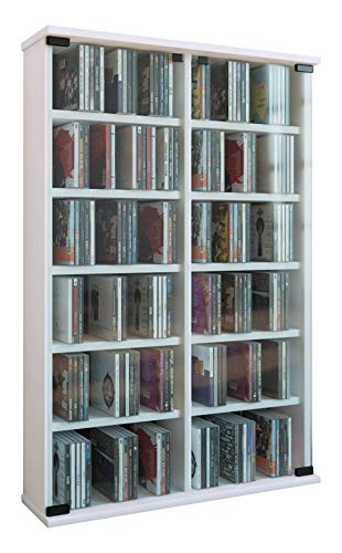 VCM Roma - Torre para CD/DVD, para 300 CDs, color Blanco, dimensiones 92x60x18 cm