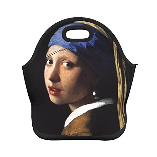 Painting Girl Pearl Earring Insulated Thermal Lunch Bag Reusable Neoprene Lunch Box Tote Handbag For Men Women