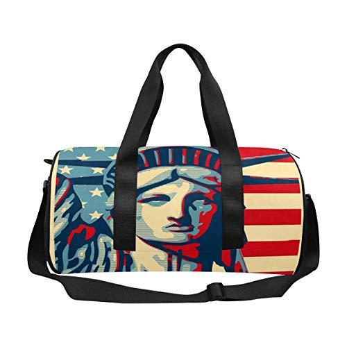 INTERESTPRINT Statue of Liberty, Stars Outdoor Sports Travel Duffel Bag