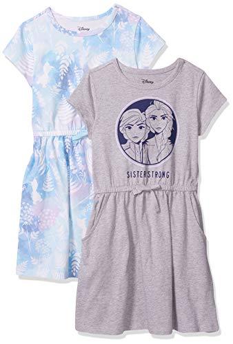 Spotted Zebra Girls' Kids Disney Star Wars Marvel Princess Knit Short-Sleeve Cinch-Waist Dresses, 2-Pack Frozen 2 Sister Strong, Small